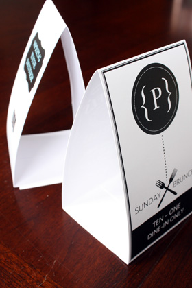 Example table tents